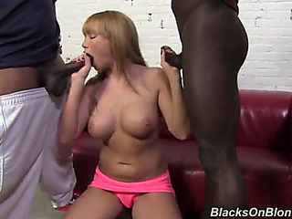 Maya hills is facialized after a threesome with dark dicks