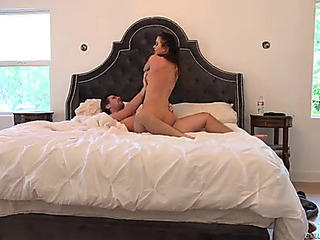 Super cute brunette hair being drilled naive in daybed after choking on a knob