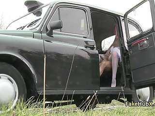 Eager taxi driver fuck 2 wet cracks