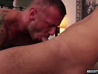 Tattoo homosexual anal sex and spunk flow